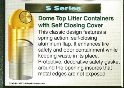 GLO-S1536BE-Atlantis-Dome, self closing-trash-brass
