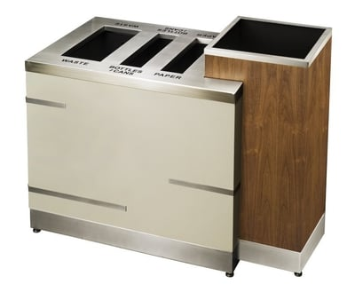 Recycling Station with attached Wood Planter
