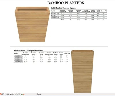 Bamboo Planters-Tapered Squares