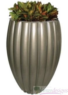 Combia-Tall Ribbed Vase style fiberglass planters.