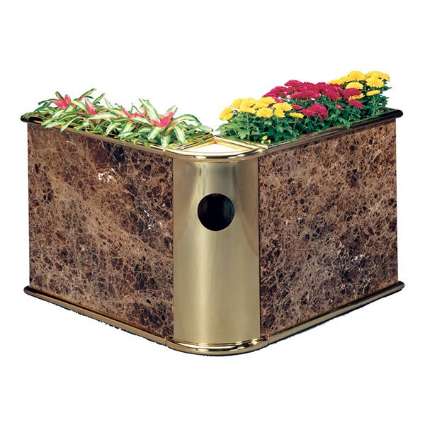 Custom V shape planter-stone,brass w/Ash-trash