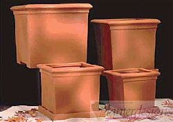 Poly Resin Square Footed Planters