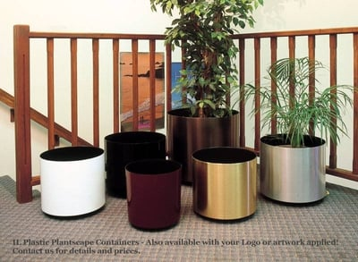 Brushed or Polished Metalized Chrome or Brass finish (IL) Interior Landscape Containers